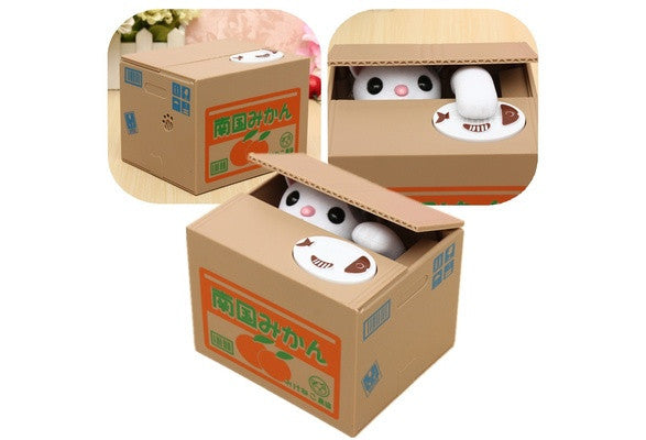 Crazy Cat Stealing Coin Money Saving Box