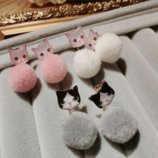 Crazy Cat Pom Pom Earrings