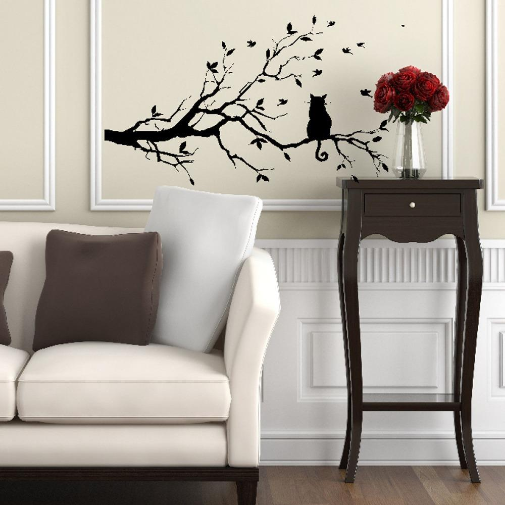 Cat On Tree Branch Vinyl Wall Sticker