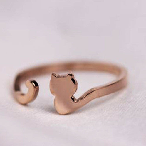 My Cat Has A Long Tail 18K Rose Gold Ring - One Cool Gift  - 1