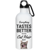 Everything Tastes Better With Cat Hair Stainless Steel Water Bottle 20 oz.