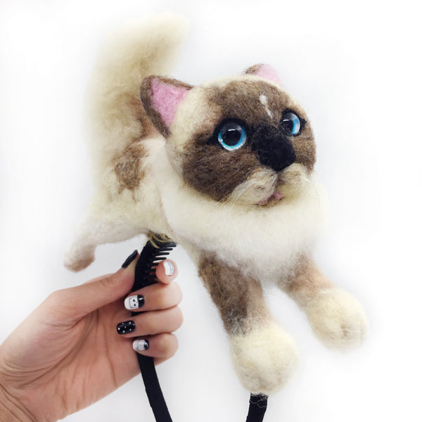 My Cat on My Head Needle Felted Headband - Custom Made With Your Cat's Photo