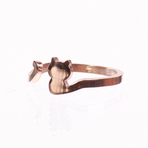 My Cat Has A Long Tail 18K Rose Gold Ring - One Cool Gift  - 2