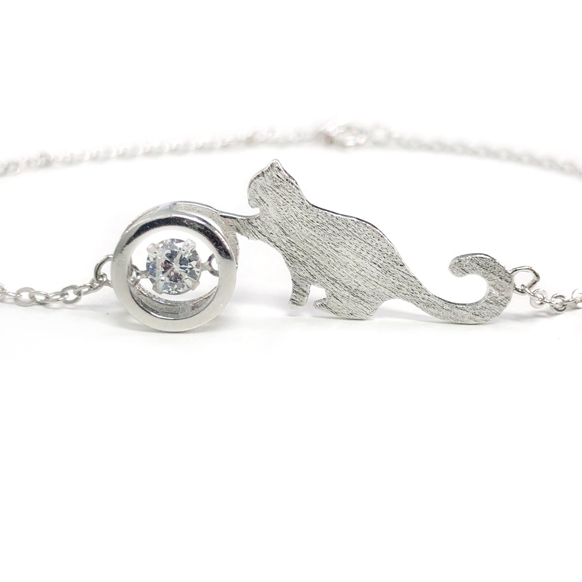 Sparkling Cat Love 925 Silver Bracelet Necklace