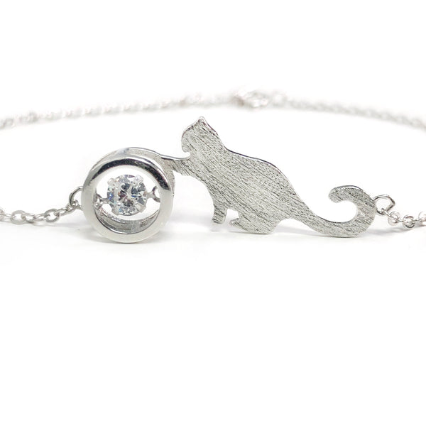 Sparkling Cat Love 925 Silver Bracelet & Necklace