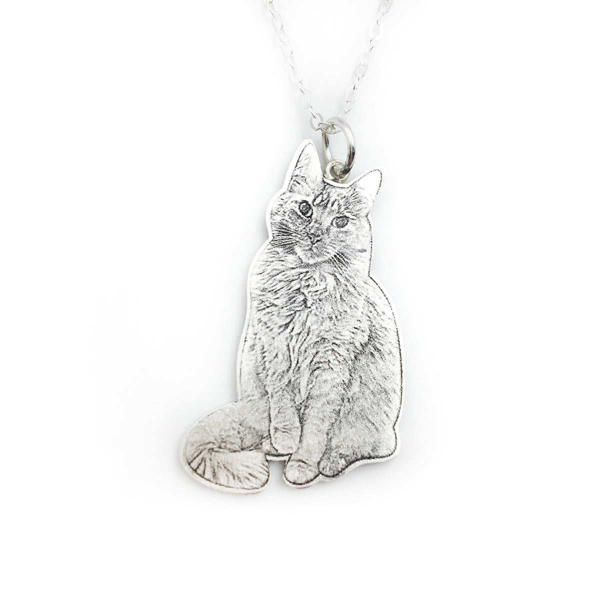 feline friends our celebrate clearance sitting cat cute necklace silver with