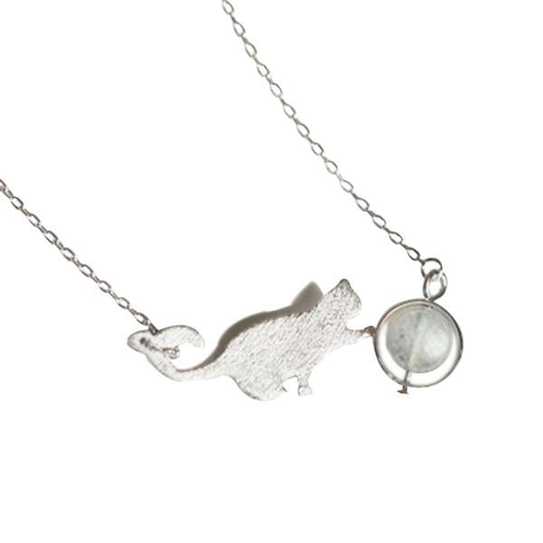 I Love My Cat To The Moonstone Necklace