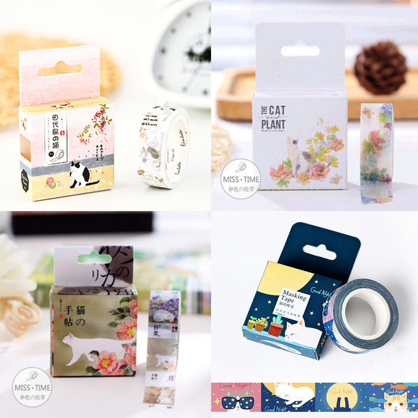 Japanese Art Cat Decorative Washi Tapes Set of 4 - FREE SHIPPING