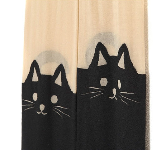 Crazy Cat Face Tights Stockings Pantyhose