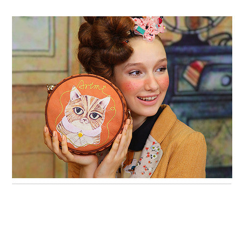 Super Adorable Crazy Cat Round Purse Handbag
