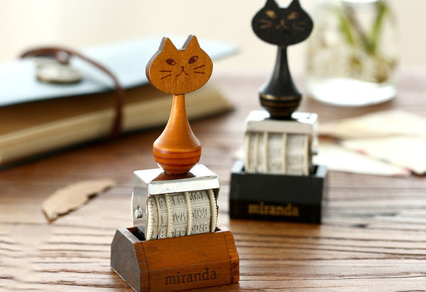Wooden Handcrafted Cat Date Stamp