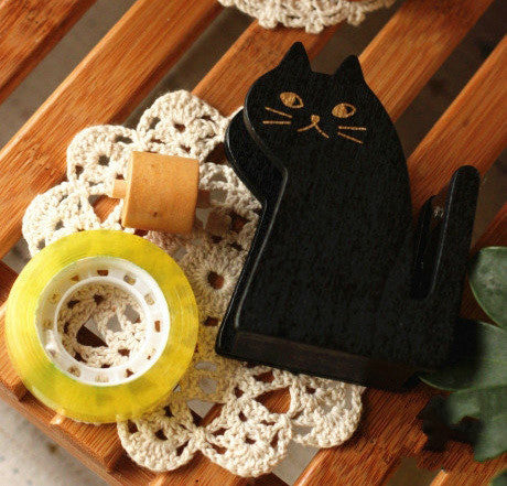 Wooden Handcrafted Cat Tape Holder