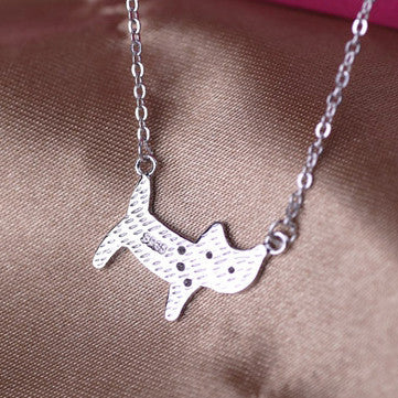 Pretty Lady Cat 925 Sterling Silver Rhinestone Necklace - One Cool Gift  - 2