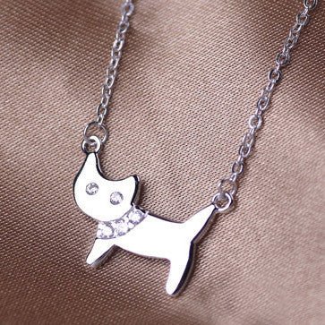 Pretty Lady Cat 925 Sterling Silver Rhinestone Necklace - One Cool Gift  - 1