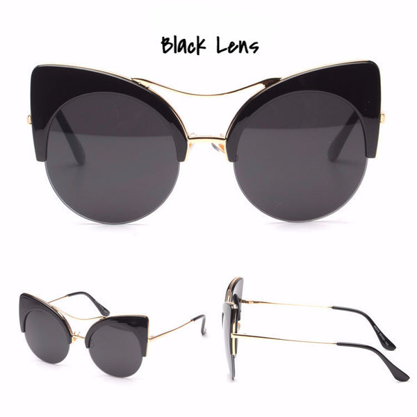 Large Crazy Cat Eye Sunglasses