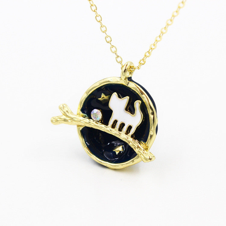 Get planet cat pendant necklace at best cat gift store crazycatshop the planet cat pendant necklace aloadofball Choice Image
