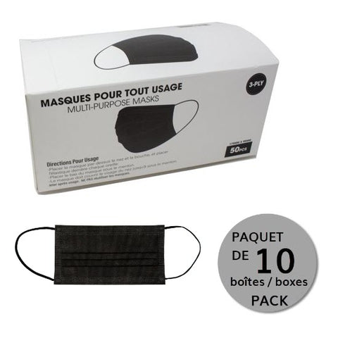 Black single-use face mask - 10 boxes of 50 masks