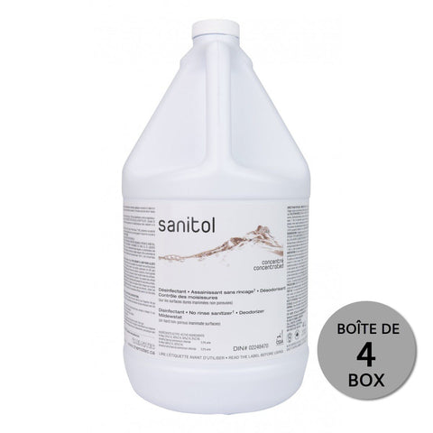SANITOL concentrated sanitizing disinfectant - no rinse - Box of 4 X 4L