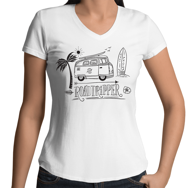The Roadtripper - Women's V-Neck Tee - Just Print Co