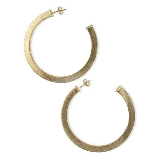 Medium Thick Flat Brushed Gold Hoops