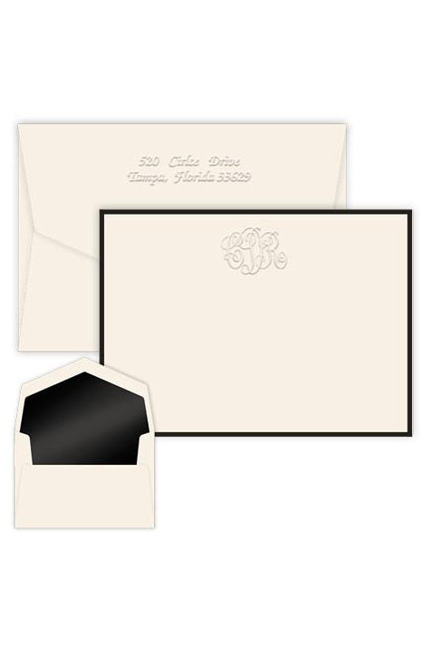 Classic Monogram Bordered Card with Pinnacle Lined Envelopes - Charlotte's Inc