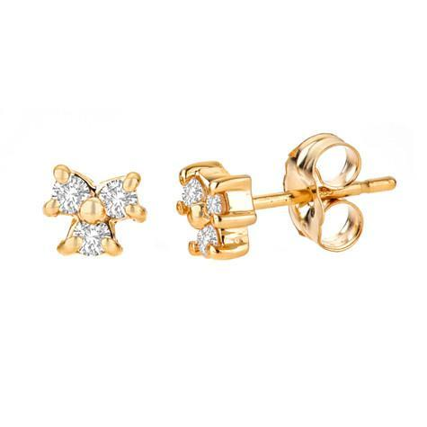 3-Stone Diamond 14kt Stud Earring