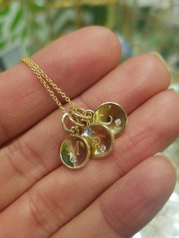 14kt Inital Disc Charms with Chain (Optional)