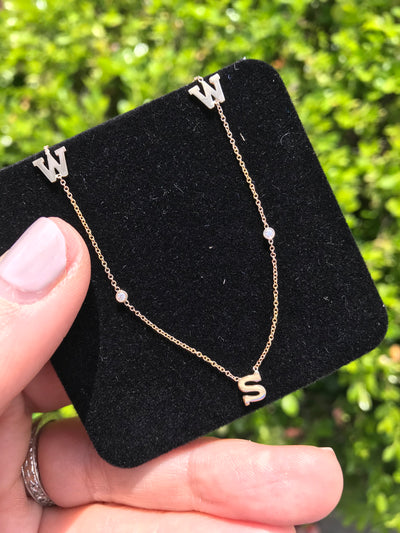 14kt Initial Necklace with Diamond - Charlotte's Inc