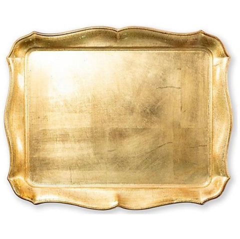 Vietri Wooden Gold Rectangular Tray