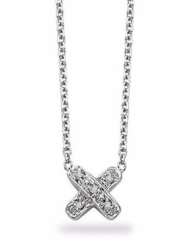 "Diamond "" X "" Necklace in 14k White Gold with 5 Diamonds"