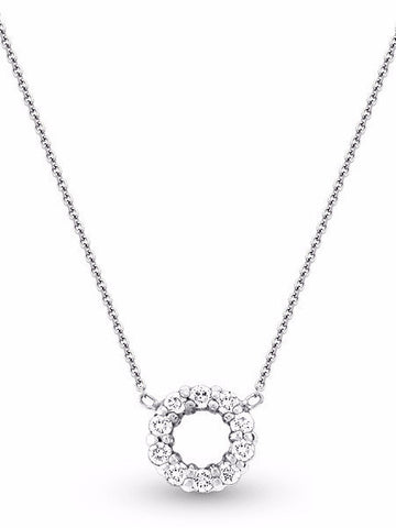 Diamond Circle Necklace in 14k White Gold with 10 Diamonds - Charlotte's Inc
