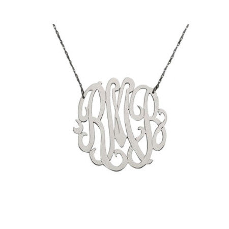 "Personalized 3 Initial Necklace - 1 5/8"" Diameter"