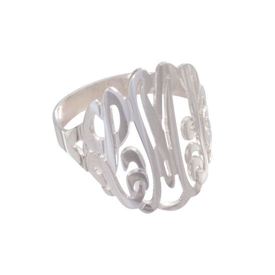 Personalized 3 initial cutout ring - Charlotte's Inc