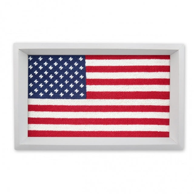 Needlepoint American Flag Valet Tray