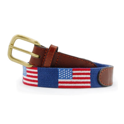 American Flag (Navy) Needlepoint Children's Belt - Charlotte's Inc