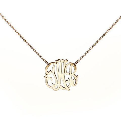 "Personalized 3 Initial Necklace - 3/4"" Diameter"