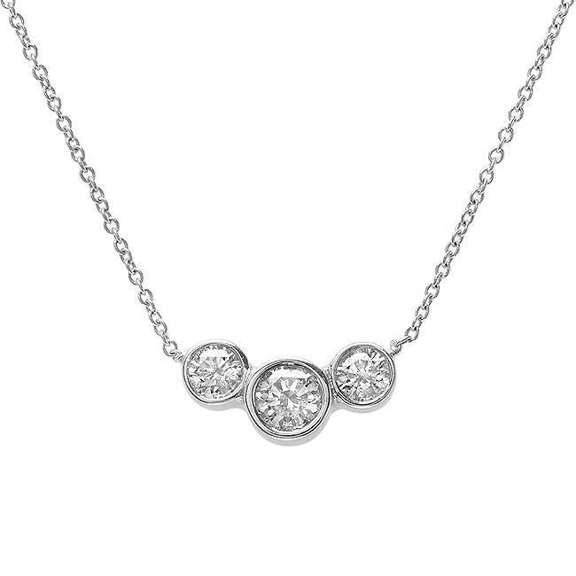 3 Diamond 14kt White Gold Necklace - Charlotte's Inc