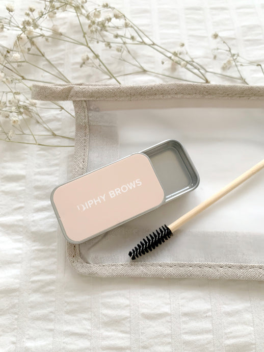 diphy brow soap metal tin, bamboo spoolie and eco-friendly essential bag