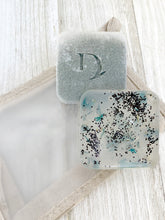 Load image into Gallery viewer, eucalyptus and lavender handmade soap laying on our essentials eco friendly bag