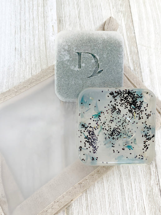 eucalyptus and lavender handmade soap laying on our essentials eco friendly bag