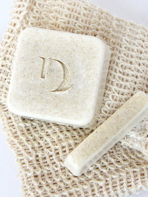 naked soap bar. fragrance free, oatmeal base duo set. includes home bar, mini bar and loofah bag