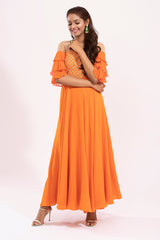 Ruffle sleeved long dress