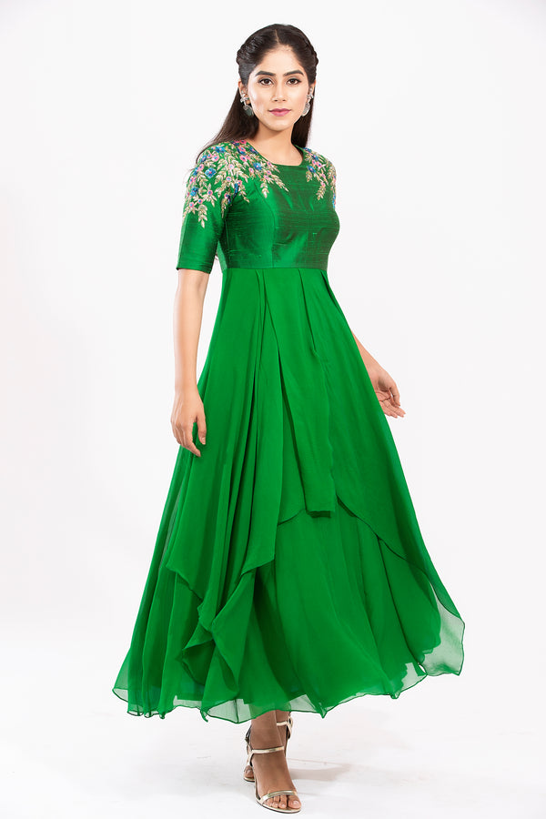 Shoulder Embroidered long dress - Miraki Dress
