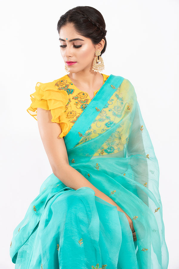 Ruffle Blouse Saree - Thea Saree