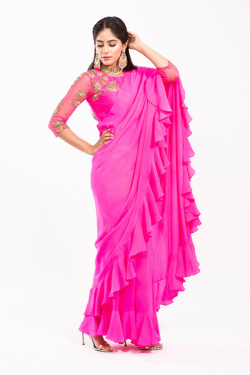 Ruffle Saree with Elbow Blouse - Lolla saree