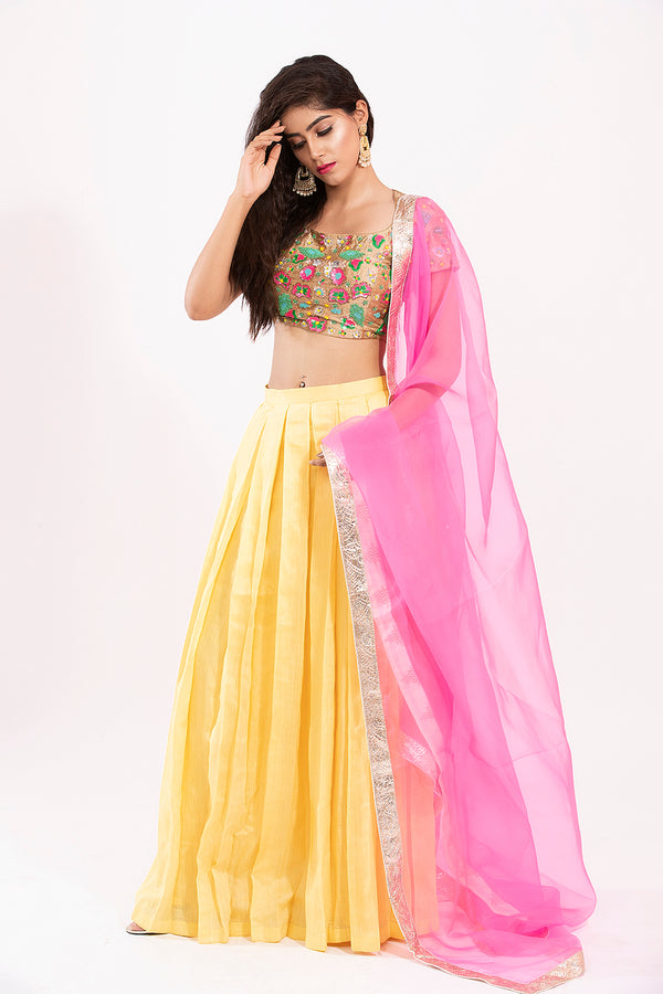 Yellow and Pink Crop top lehanga