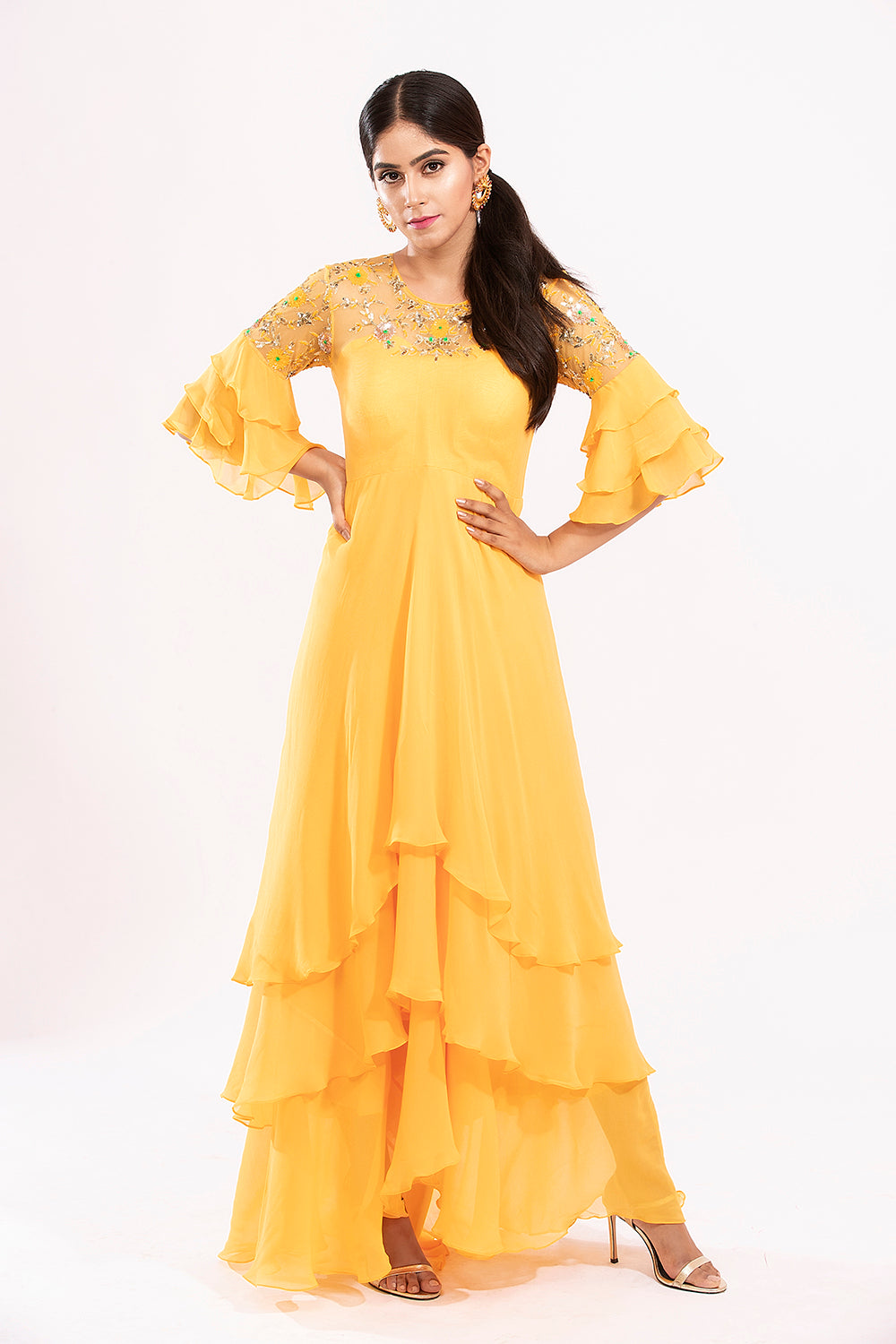 Mustard layered long dress