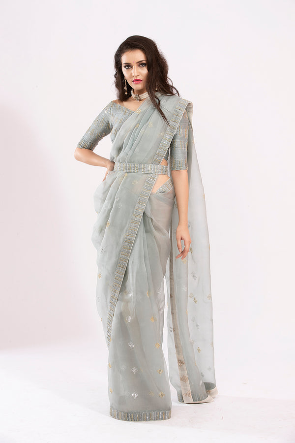 Grey Organza off shoulder blouse saree