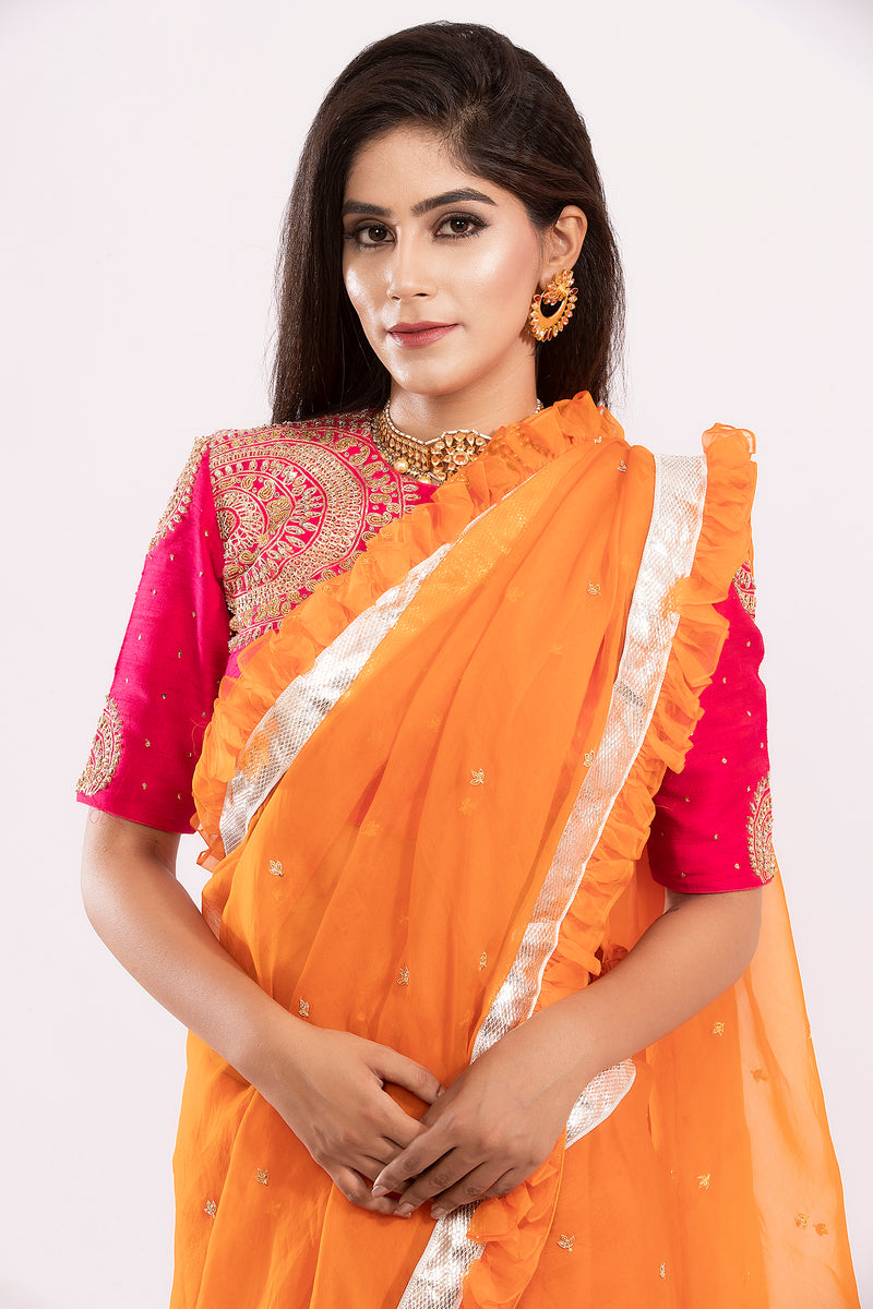Orange and Pink Organza Ruffled embroidered Saree