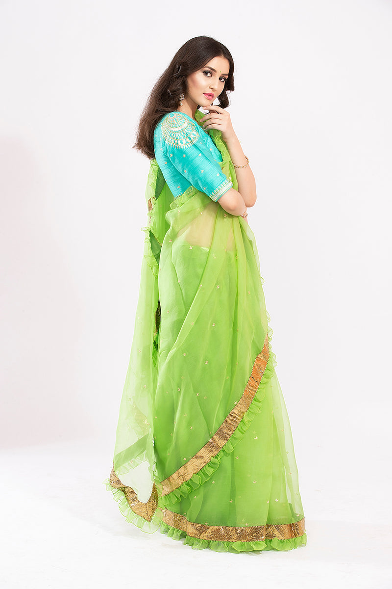 Organza Ruffle saree with embroidered blouse